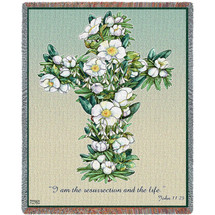 Gardenia Cross -  I Am The Resurrection And The Life - Scriptures - John 11:25 - Sympathy - Tapestry Throw