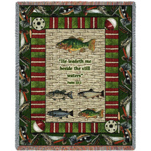 Gone Fishing - He Leadeth Me Beside The Still Waters - Scriptures - Psalm 23:2 - Tapestry Throw