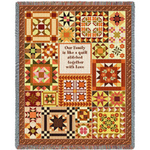 Our Family Is Like a Quilt Stitched Together With Love - Tapestry Throw
