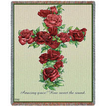 Red Roses Cross - Amazing Grace How Sweet The Sound - Sympathy - Tapestry Throw