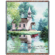 Lakeside Scripture -  I Was Glad When They Said Unto Me Let Us Go Into The House of the Lord - Scriptures - Psalm 122:1 - Tapestry Throw