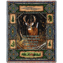 Deer Lodge - As The Deer Pants For Streams of Water So My Soul Pants For You My God - Scriptures - Psalm 42:1 - Tapestry Throw