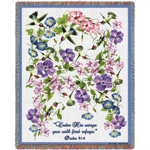 Hummingbird - Under His Wings You Will Find Refuge - Scriptures - Psalm 91:4 - Tapestry Throw