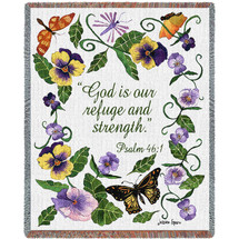 Butterflies - God Is Our Refuge And Strength - Scriptures - Psalm 46:1 - Tapestry Throw