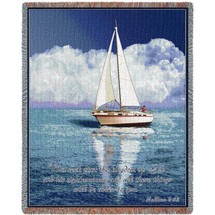 Sailboat - But Seek First His Kingdom And His Righteousness - Scriptures - Matthew 6:33 - Tapestry Throw