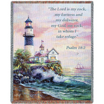 Lighthouse - The Lord Is My Rock And My Fortress - Scriptures -Psalm 18:2 - Tapestry Throw