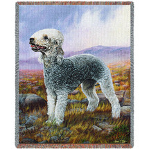 Bedlington Terrier - Robert May - Cotton Woven Blanket Throw - Made in the USA (72x54) Tapestry Throw