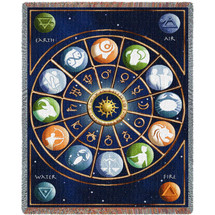 Zodiac Signs - Cotton Woven Blanket Throw - Made in the USA (72x54) Tapestry Throw