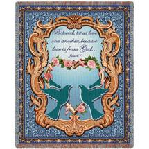 Wedding Doves - Scriptures - John 4:7 - Tapestry Throw