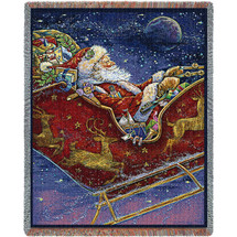 Christmas Midnight Ride - Donna Race - Cotton Woven Blanket Throw - Made in the USA (72x54) Tapestry Throw