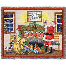 Christmas Santa's Bag - Cotton Woven Blanket Throw - Made in the USA (72x54) Tapestry Throw