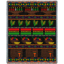 Kwanzaa - Cotton Woven Blanket Throw - Made in the USA (72x54) Tapestry Throw
