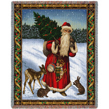 Father Christmas - Red - Cotton Woven Blanket Throw - Made in the USA (72x54) Tapestry Throw