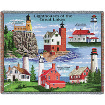 Lighthouses of the Great Lakes - Split Rock, Round Island, Whitefish, Rock Harbor, Outer Island, St Helena - Tapestry Throw