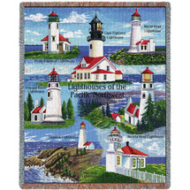Lighthouses of the Pacific Northwest - Point Robinson, Umpqua River, Noth Head, Yaquina, Cape Flattery, Heceta, Mukilteo - Tapestry Throw