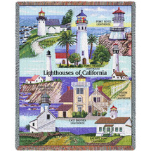 Lighthouses of California - Montara, Reyes, Vicente, Pigeon, Battery, East Brother, Loma, Arena - Cotton Woven Blanket Throw - Made in the USA (72x54) Tapestry Throw