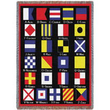 Nautical Flags - Cotton Woven Blanket Throw - Made in the USA (72x54) Tapestry Throw