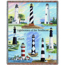 Lighthouses of the Southeast - Key West, Cape Hatteras , Sapelo, Tybee, Harbor Town, Cape Lookout, Cape Canaveral , Hunting Island - Cotton Woven Blanket Throw - Made in the USA (72x54) Tapestry Throw