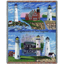 Lighthouses of New England - Boston, Black Island, Portsmouth, Nantucket, Mystic, Cape Cod - Cotton Woven Blanket Throw - Made in the USA (72x54) Tapestry Throw