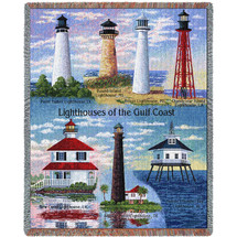 Lighthouses of the Gulf Coast - Point Isabel, Round Island, Biloxi, Chandeleur,New Canal,Bolivar,Mobile - Tapestry Throw