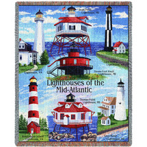 Lighthouses of the Mid-Atlantic - Old Point, Drum Point, Seven Foot, Cape Henry, Assateague, Thomas Point, Cove Point - Cotton Woven Blanket Throw - Made in the USA (72x54) Tapestry Throw