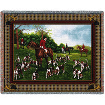 The Fox Hunt - Cotton Woven Blanket Throw - Made in the USA (72x54) Tapestry Throw