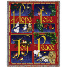 Hope - Love - Joy - Peace - Cotton Woven Blanket Throw - Made in the USA (72x54) Tapestry Throw