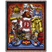 Fire Department Firefighter - Cotton Woven Blanket Throw - Made in the USA (72x54) Tapestry Throw