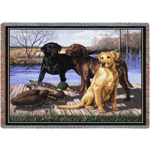 The Board Meeting Labrador Retriever Lab - Bob Christie - Cotton Woven Blanket Throw - Made in the USA (72x54) Tapestry Throw