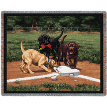Stealing Second Labrador Retrievers Lab - Bob Christie - Cotton Woven Blanket Throw - Made in the USA (72x54) Tapestry Throw