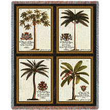 Royal Colonial Palms - Cotton Woven Blanket Throw - Made in the USA (72x54) Tapestry Throw
