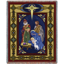 Christmas Nativity - Cotton Woven Blanket Throw - Made in the USA (72x54) Tapestry Throw