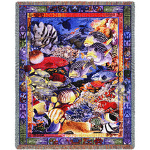Undersea Paradise - Parker Fulton - Cotton Woven Blanket Throw - Made in the USA (72x54) Tapestry Throw