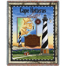 Cape Hatteras Lighthouse - Cotton Woven Blanket Throw - Made in the USA (72x54) Tapestry Throw