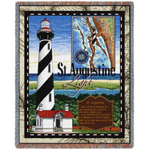 St Augustine Lighthouse - Cotton Woven Blanket Throw - Made in the USA (72x54) Tapestry Throw