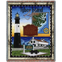 Tybee Island Lighthouse - Cotton Woven Blanket Throw - Made in the USA (72x54) Tapestry Throw