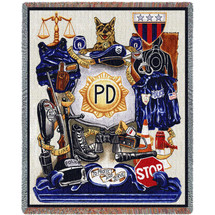 Police Department - Cotton Woven Blanket Throw - Made in the USA (72x54) Tapestry Throw