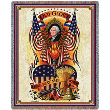 Long May She Wave - Charles Wysocki - Cotton Woven Blanket Throw - Made in the USA (72x54) Tapestry Throw
