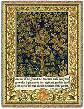 Tree Of Life - Genesis 2:9 - Arts and Crafts - William Morris - Cotton Woven Blanket Throw - Made in the USA (72x54) Tapestry Throw
