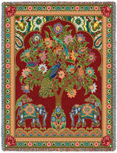 Asian Elephants - Tree of Life - Cotton Woven Blanket Throw - Made in the USA (72x54) Tapestry Throw