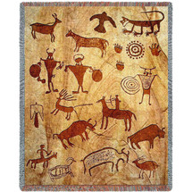 Rock Art of the Ancientse - Southwest Cave Rock Art - Southwest Cave Rock Art - Cotton Woven Blanket Throw - Made in the USA (72x54) Tapestry Throw