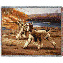 Afghan Hound River Walk - Bob Christie - Cotton Woven Blanket Throw - Made in the USA (72x54) Tapestry Throw