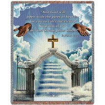 Heaven's Gate 2 -  And God Will Open Wide The Gates of Heaven - Scriptures - 2 Peter 1:11 - Sympathy - Tapestry Throw