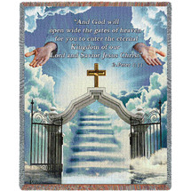 Heaven's Gate 1 -  And God Will Open Wide The Gates of Heaven - Scriptures - 2 Peter 1:11 - Sympathy - Tapestry Throw