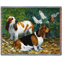 Bassett Hound and Butterfly - Bob Christie - Cotton Woven Blanket Throw - Made in the USA (72x54) Tapestry Throw