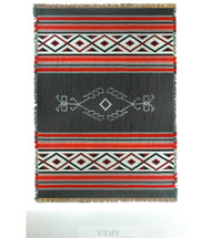Desert - Wind - Southwest Native American Inspired Tribal Camp - Cotton Woven Blanket Throw - Made in the USA (72x54) Tapestry Throw