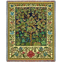 Tree of Life - Arts And Crafts - William Morris - Cotton Woven Blanket Throw - Made in the USA (72x54) Tapestry Throw
