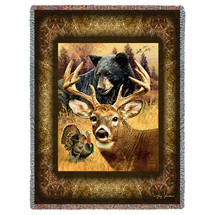 Hunter's Dream - Deer Buck  Wild Turkey Black Bear - Tapestry Throw