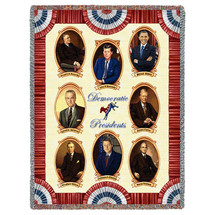 Great Democratic Presidents - Roosevelt Kennedy Obama Johnson Carter Wilson Clinton Truman - Cotton Woven Blanket Throw - Made in the USA (72x54) Tapestry Throw