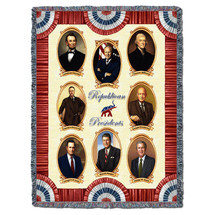 Great Republicans - Lincoln, Ford, F.D. Roosevelt, T. Roosevelt, Eisenhower, G.H.W. Bush, Reagan, G.W. Bush - Cotton Woven Blanket Throw - Made in the USA (72x54) Tapestry Throw